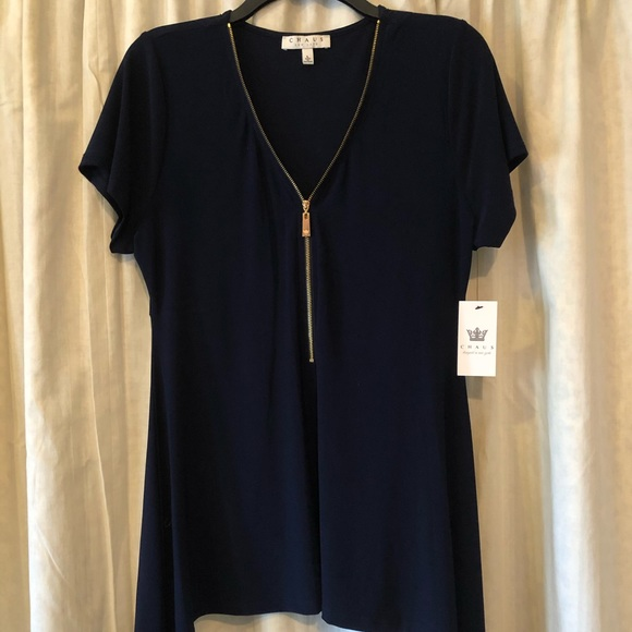 Chaus Tops - Chaus Navy Blue Blouse with Gold Zipper - NWT